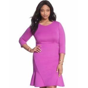 Eloquii, Ruffle Hem Scuba Dress, Purple, 16